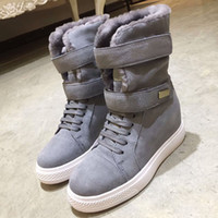 Wholesale grey suede over knee flat boots resale online - Designer Women Winter Snow Boots Fashion flat Ankle boots luxury Calfskin grosgrain ankle Boot brand woman Plus velvet snow boots