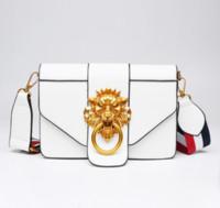 schmücken handtaschen groihandel-Designer Handtaschen Portemonnaie Breite Schulterriemen Lady Bag Stilvolle Metall Löwe-Kopf verziert Cross Body Small Square Bag Frauen Taschen