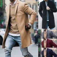 homens trincheiras de lã s venda por atacado-Brasão de lã de inverno casaco de trincheira Outwear casaco de manga longa de moda masculina