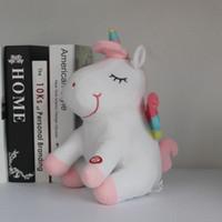 dia de san valentin los animales al por mayor-LED Light Up Unicorn Stuffed Animal Toys Navidad Cumpleaños Regalos de San Valentín para niños juguete de unicornio de dibujos animados 30 cm EEA423