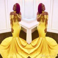 vestido de fiesta largo transparente amarillo al por mayor-2018 Vestidos de fiesta de sirena baratos africanos amarillos Vestido formal Vestido de fiesta Vestidos de noche Abendkleider Vestidos de manga larga transparentes