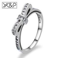 rote herz diamanten ring großhandel-XP Mode Niedlichen Koreanischen Bowknot Stapelbar Silber Kristall Ringe für Frauen Engagement Hochzeit Zirkonia Ring Schmuck Geschenk