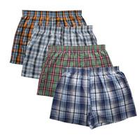 klasik moda iç çamaşırı toptan satış-Yeni Klasik Ekose erkekler rahat moda markası yüksek kaliteli boksör 4pcs / lot Pamuk boksörler erkek şort iç çamaşırı mens pantolon ok