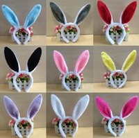 bunny adult toptan satış-Çocuklar için 27 Renkler Tavşan Kulaklar Hairband Yetişkin Paskalya Bulanık Sequins Saç Toka Parti Cosplay Bunny Kız Sahne Yenilik Öğeleri CCA10885 120 adet