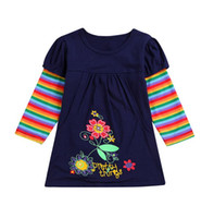 Wholesale floral cotton frock for sale - 2019 Autumn Rainbow Striped Dresses For Girls Flower Frocks Vestidos Infantil Long Sleeve Princess Dress Floral Clothings