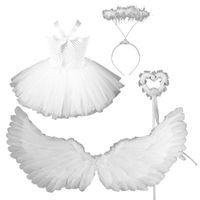 Wholesale white feathers costume resale online - Toddler Girls Angel Costume Set White Tutu Dress Feather Wings Headband Wand