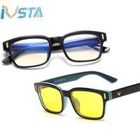 marco floral gafas de sol mujeres al por mayor-IVSTA GM V logo Gafas de ordenador Anti Rayos Azules Gafas de sol Mujer Hombres Miopía Lentes de bloqueo de luz azul Marco óptico Prescripción CE