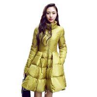 ingrosso giacca gialla delle signore-2015 nuove donne di moda inverno piumini caldo lungo cappotto sottile e giacca femminile grande altalena giallo / nero signore neve outwear