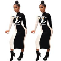 Wholesale spandex dress sleeves for sale - Group buy fashion Women sexy panelled dresses stand collar long sleeve maxi skirts designer fall winter clothing bodycon dresses S XXL