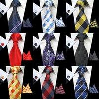 kravat takımları mendil kol düğmeleri toptan satış-RBOCOTT Klasik Erkekler Için 8 cm Kravat Set Ipek Jakarlı Dokuma Ekose Bağları Mendil Kol Düğmeleri Set Erkek Çizgili Düğün Kravat