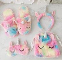 kremalı kız toptan satış-Kış Peluş Terlik Kalpler Dondurma Unicorn Saç Maskesi Çanta Unicorn Sıcak Kapalı Ayakkabı Kızlar Ev Yatak Odası kaymaz Kat Terlik GGA1442