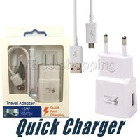 Wholesale galaxy charge cables resale online - 5V A USB Wall Fast Charger Turbo Adapter Charging A EU US Plug For Samsung Galaxy S7 Edge S8 Plus Note8 Fast Cable