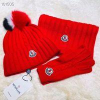 ingrosso set di scatole di cappello-liruoxi1314 Celebrity design Letter Sciarpa di lana Cappello guanti Uomo Donna Cashmere lana Volpe cappello a sfera capelli set 3pz 426887 4HB12 2160 004 con scatola