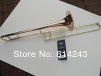 Wholesale copper trombones resale online - New Bach B Flat Tenor Trombone Performance Musical Instrument Phosphor Copper Body Gold Lacquer Surface High Quality Bb Trombone With Case