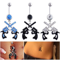Wholesale pistol gun ring resale online - Dangle Surgical Steel Western Cowgirl Gun Pistol Rhinestone Navel Belly Ring Revolver