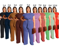 Wholesale racing trousers resale online - Women piece set short sleeve straight pants outfits female tracksuit casual summer suit sweatshirt loose trousers suit klw1815