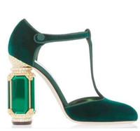 bayanlar için kadife elbiseler toptan satış-Mahkemesi Balo Parti Pompaları Yüksek Kaliteli Tasarımcılar Bayan Kadife Elbise Ayakkabı Kristal Rhinestone Topuk Kadın Yüksek topuk Gelin Pompaları