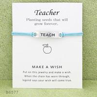 Wholesale christmas gifts for teachers resale online - 2019 Wish Teacher Charm Wrap bracelets with Gift Card women designer Infinity Wristband Bangle For Men s Fashion Jewelry Bulk