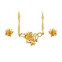 puro colar de ouro china venda por atacado-(239S) Tradicional Flor Brinco e Colar Conjunto de Jóias Para As Mulheres de Noiva Nupcial Jóias 24 k Pure Banhado A Ouro de Alta Qualidade