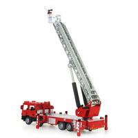 пожарные машины оптовых-Новый 40 см Моделирование 1:50 Сплава растягиваемая лестница пожарная машина платформа пожарная машина модель 360 градусов вращения спасательный автомобиль игрушка в подарок