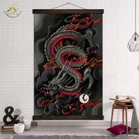 duvar sanatı resimleri soyut siyah kırmızı toptan satış-Salon Siyah Red Dragon Sanat Posterler ve Baskılar Soyut Tuval Boyama Poster Çerçeve Artwork Modern Sanat Duvar Resimleri