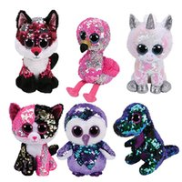 ingrosso grande unicorno peluche-15 CM Hot Ty Beanie Boos Big Eyes bianco con paillettes Dangler Sloth Unicorn Seal Dog Cat Peluche Bambola farcito Peluche Kid Toy