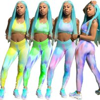 Wholesale yoga pants tops for sale - Group buy Women Gradient Color Tracksuit Letter Printed Sleeveless Crop Top Pants Leggings Set Fitness Sports Yoga Gym Girls Clothing Set OOA6467