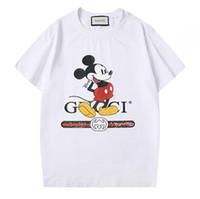 estilos de italia dos homens venda por atacado-20ss Itália marca design luxuoso Hot Style Ins Homens Mulheres GGCotton Mickey LOGO Black White Moda T-shirt