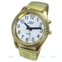 konuşan saatler toptan satış-Fransızca Konuşma Saati, Konuşma Tarihi ve Saati, Alarm Fonksiyonlu, Altın Renkli, Beyaz Yüzlü