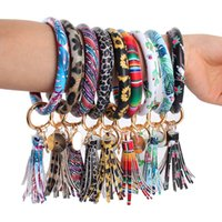 Wholesale keys for sale - Group buy Leather Wrap Bracelets Key Ring Leopard Print Chain Wristband Sunflower Drip Oil Bangle Keychain Party Gift TTA1635