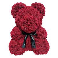 ingrosso giorno artificiale di valentines rose-Dimensioni più grandi 40cm San Valentino regalo Artificiale Rose Orso Decorazione della festa nuziale, Decorazione Fiore rosa orsacchiotto schiuma rosa