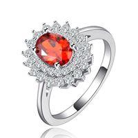 rote silberne kristalle großhandel-Mode Weiß zirkon rot Kristall Silber Luxus Ringe Für Frauen Zirkon Schmuck Kristall rot Oval Boho Trauringe