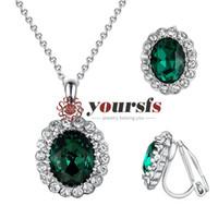 pendientes de collar de esmeralda al por mayor-yoursfs Green Emerald Bridal Jewelry Set Oval Shape Wedding Jewelry Bridesmaid Necklace Pendientes