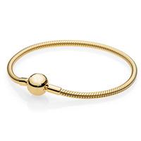 bracelet en or lisse achat en gros de-925 Sterling Silver Pan Bracelet Couleur Or Moments Lisse Boule Fermoir Serpent Chaîne Bracelet Fit Perle Charme Diy Europe Bijoux