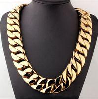 barba de oro al por mayor-hip hop 18K chapado en oro pulido alto Miami Cuban Link Collar Hombre Punk 32 mm Encintado Cadena Dragón-Barba Broche 28