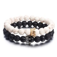Wholesale wood beads bracelet accessories online - New fashion vintage nature volcanic stone beads bracelet for women or men alloy crown accessories personality gift