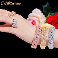pulseras de plata africana al por mayor-CWWZircons lujo gran anillo pulseras del brazalete de la CZ África Establece la manera de Oro de Dubai joyería de plata de la boda del partido de las mujeres T373