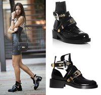 Wholesale animal cutouts resale online - Women Shoes Leather Ankle Motorcycle Boots Riding Gladiator Bootie Flats Cutout Square Heel Buckle Runway Boots For Woman Size42
