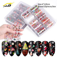 Wholesale foil christmas decorations for sale - Group buy YALIAO Christmas Halloween Nail Stickers Decals Holographic Nail Foil Water Transfer Stickers DIY Decorations Manicure