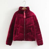 красное мягкое пальто оптовых-Бархатные хлопчатобумажные мягкие базовые куртки пальто женские теплые винно-красные куртки парки женские 2019 осень зима повседневная верхняя одежда