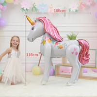 fita de decoração de mesa de prata venda por atacado-3D Unicorn Balões 116 * 106 cm Bonito Folha De Alumínio Balões de Casamento Decorações Do Partido de Aniversário Fontes Do Partido Dos Miúdos Dos Desenhos Animados Brinquedos Sala de Princesa