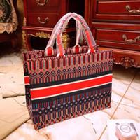 ingrosso negozio di borsa della tela di canapa-Le nuove lettere ricamate a mano Borsa per la spesa di marca per lo shopping portatile con la nuova borsa di borse da donna