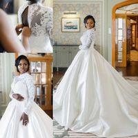 Wholesale cheap wedding dresses resale online - Arabic Aso Ebi Plus Size Lace Beaded Wedding Dresses High Neck Long Sleeves muslim princess Bridal Dresses Cheap Wedding Gowns