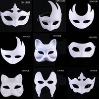 Wholesale pulp face masks resale online - Makeup Dance White Masks Embryo Mould Painting Handmade Mask Pulp Festival Crown Halloween White Face Mask TTA1542