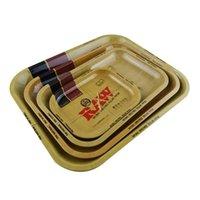 latas de navidad al por mayor-Bandeja de hojalata de metal Caja de lata 5 TAMAÑO Máquina Tabaco Bandeja para liar Handroller Fumar almacenamiento Caja Regalos de Navidad HH7-384