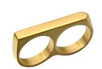 ringe dj großhandel-Sommer punk ringe dj biker männer zwei finger charme ring titanium edelstahl nachtclub modelle zwei finger ringe für männer schmuck