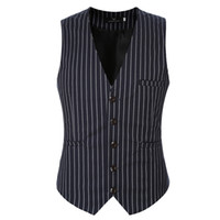 знаменитые жилеты оптовых- Clothing Suit Vests Men Fashion Formal Prom Party Striped Slim Fit Single Breasted Dress Vest