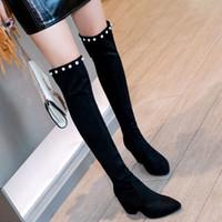 Wholesale black suede ladies heel boots resale online - Fashion New Hot Women Boots Autumn Winter Ladies High Heel Boots Over The Knee Thigh High Black Suede Long