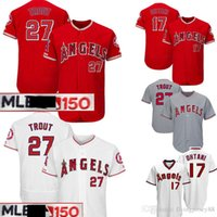 00901e23e 27 Mike Trout Los Angels Jersey 150th 17 Shohei Ohtani Majestic Scarlet  Alternate Flex Base CoolBase Authentic Collection Jerseys