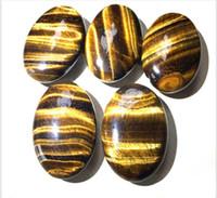 Wholesale tigers eye gemstone for sale - Group buy Palm Tumbled Stones Tiger eyes Quartz Crystal Healing Smooth Soap Shape Gemstone